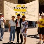 DSJC members Ken, Claire , Bob, Carol and Terry flying the flag at the Australian Jazz Convention, Adelaide 1993
